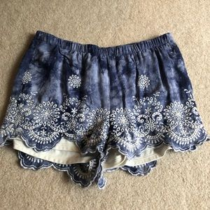 Lacy blue flows shorts OBO